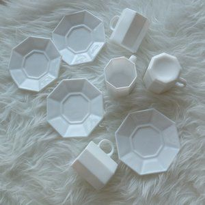 ARCOROC White Glass Octagon Cup Saucer set of 4